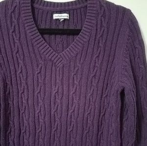 Lovely Croft&Barrow purple cable knit sweater, L